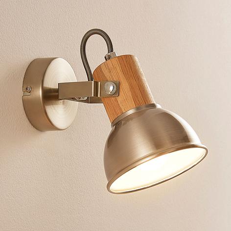 LED wand- en plafondspot Dennis met houten detail