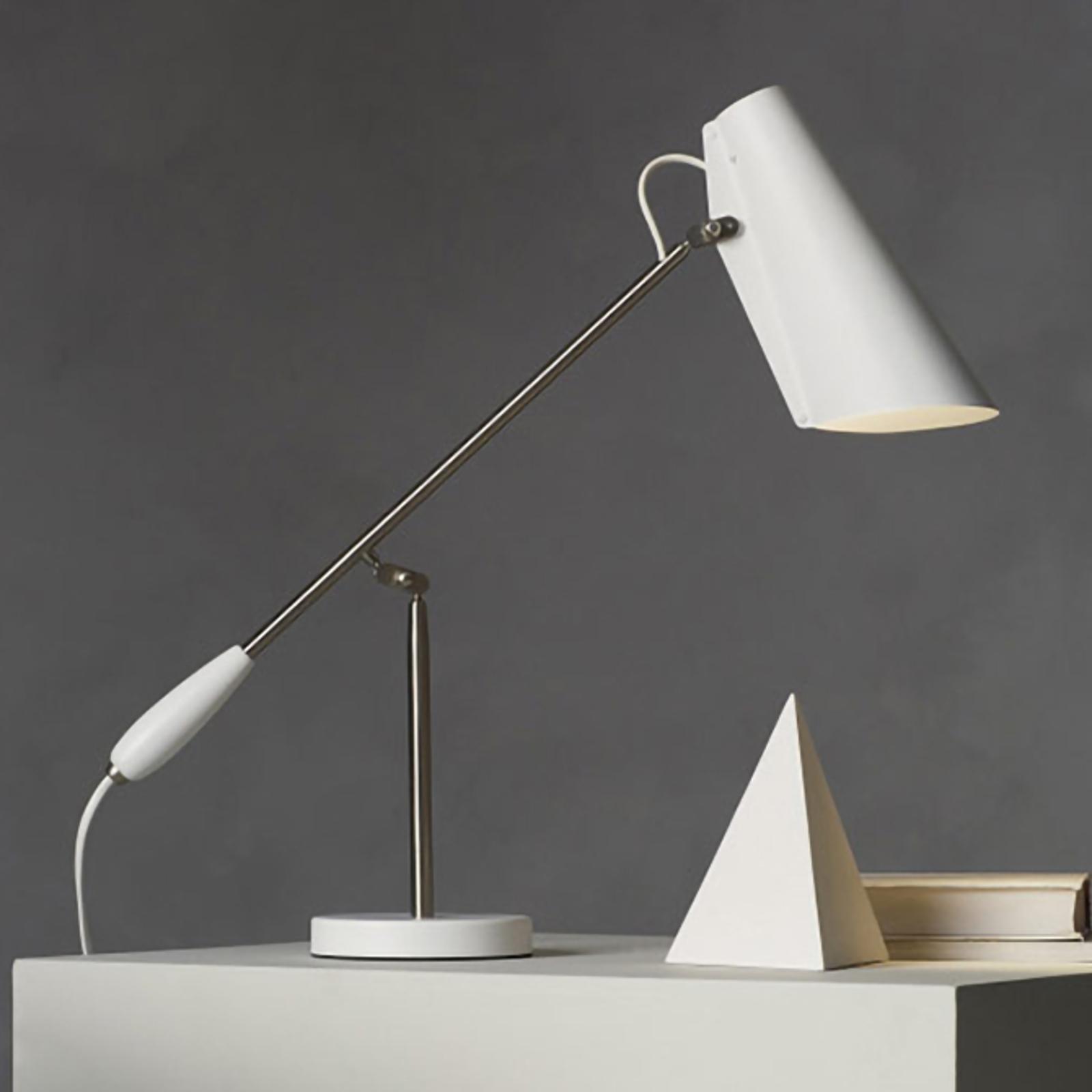 Vit retro-bordslampa Birdy