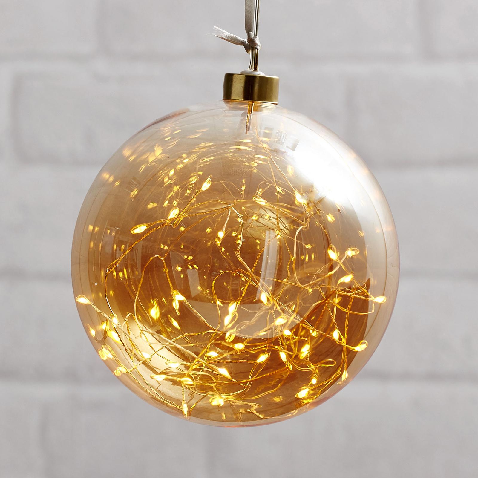 Läs mer om LED-dekorkula Glow av glas, Ø 15 cm bärnsten