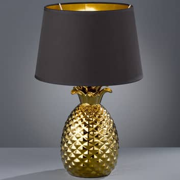 Gylden-sort tekstil-bordlampe Pineapple, 45 cm