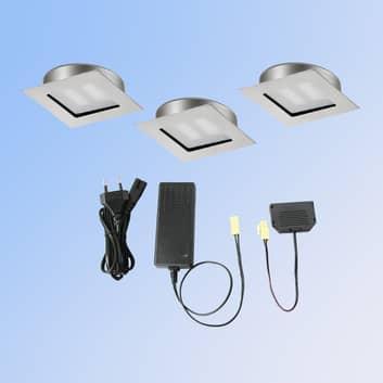 3-dl LED-inbouwspot CUBIC 68 vierk nikkel