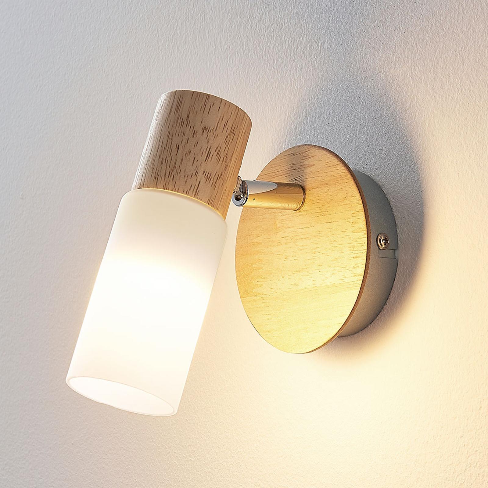 Faretto in legno Christoph con lampadina LED