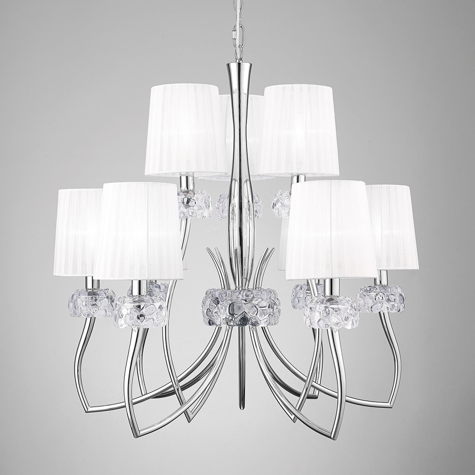 Élégant lustre textile Lara à 9 lampes