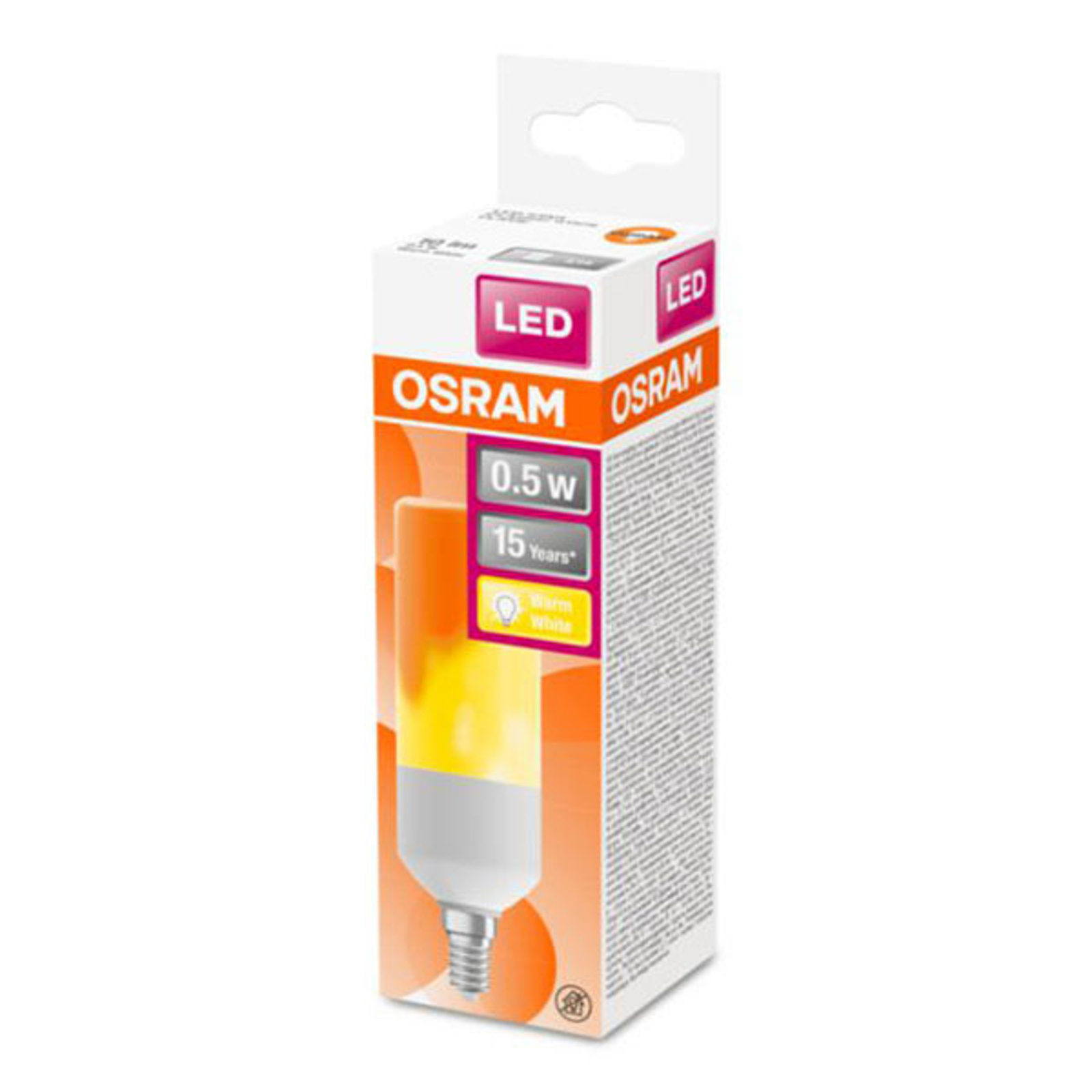 OSRAM Stick Flame lampadina LED E14 0,5W 1.500K