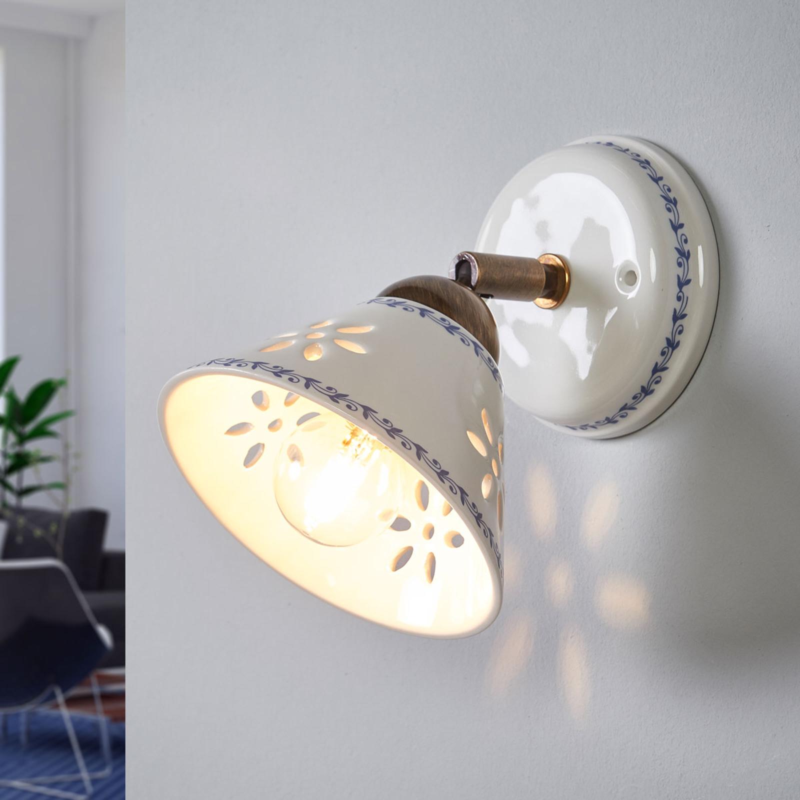Nástěnné světlo NONNA z bílé keramiky
