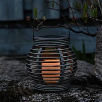 Brun solcellslampa Lantern i rottingutseende, LED