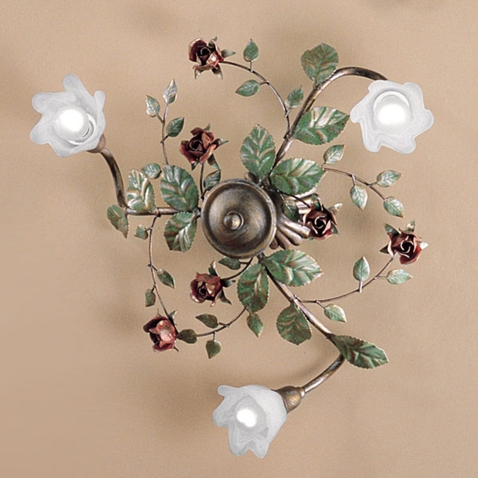 Lampa sufitowa Rosaio, okrągła, 3-punktowa