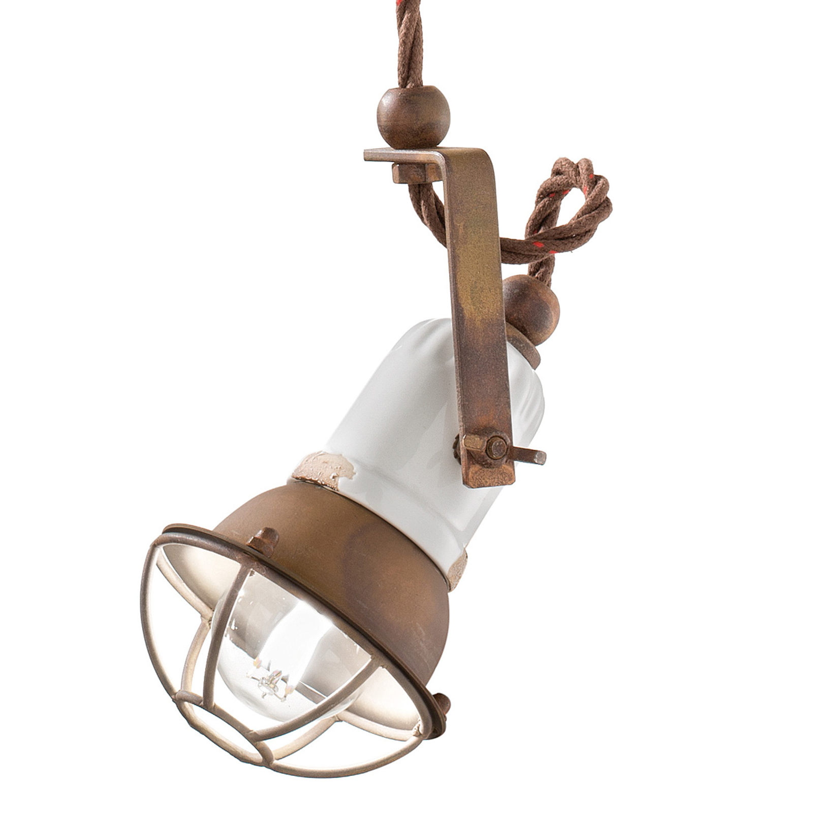 Lampa wisząca C1660/1 z klatką, biała