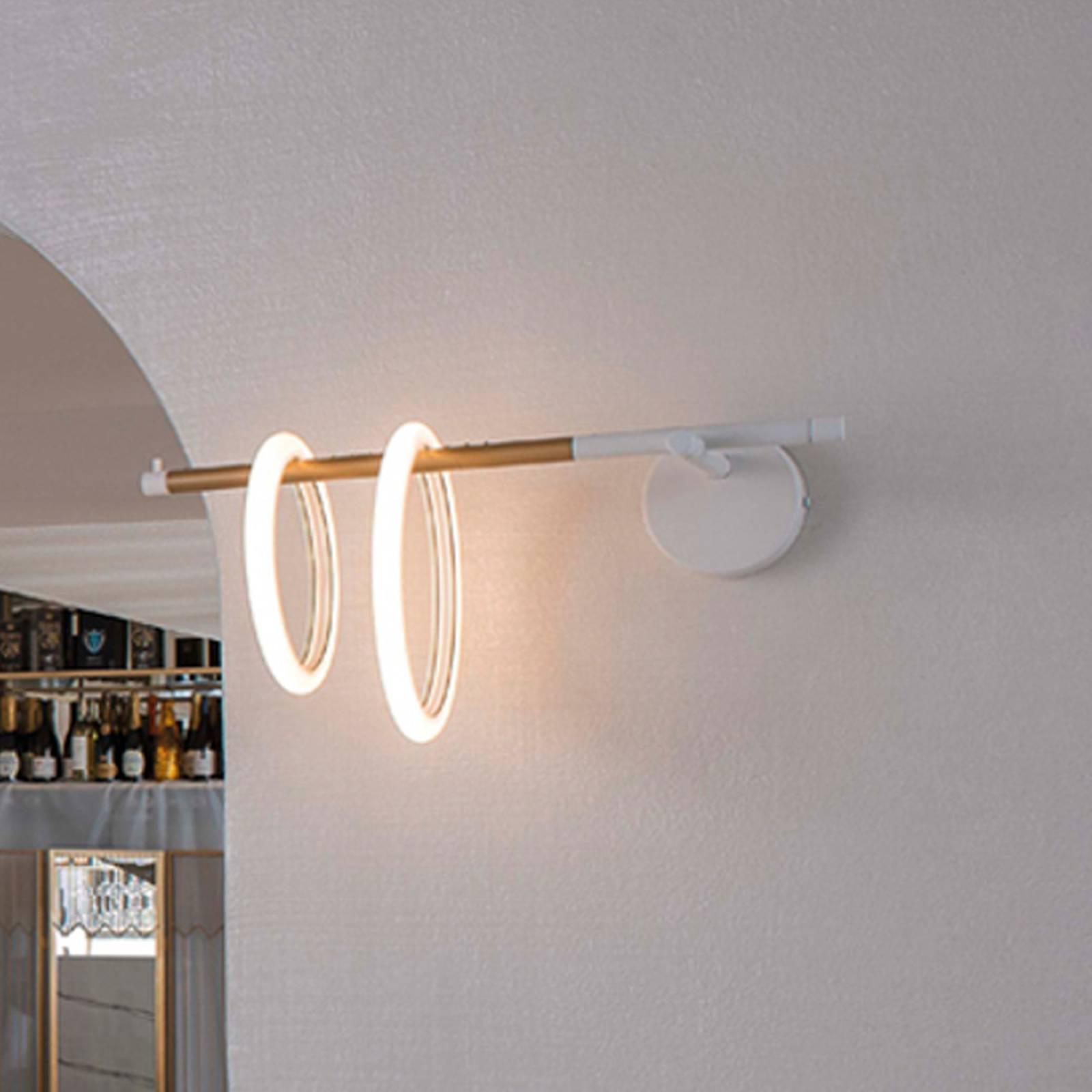 LED-Wandleuchte Ulaop, zwei Ringe, links, weiß