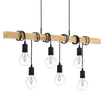 Lampa wisząca Townshend z drewnem, 6-pkt.