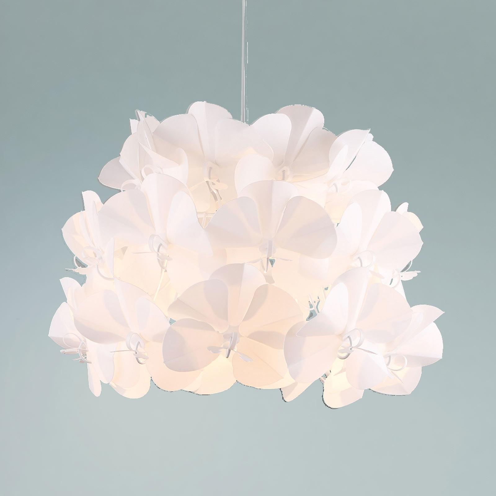 Biała lampa wisząca z tworzywa sztucznego Sarya