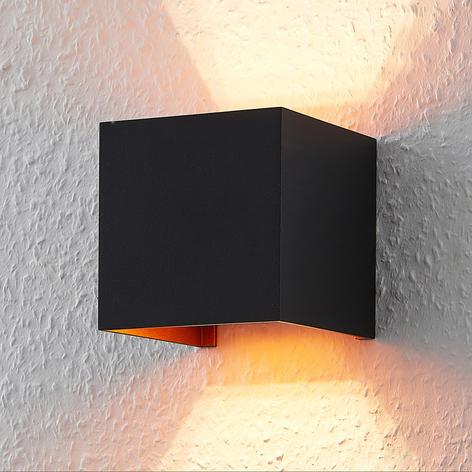 Eckige LED-Wandlampe m. G9-Lampe, schwarz-golden