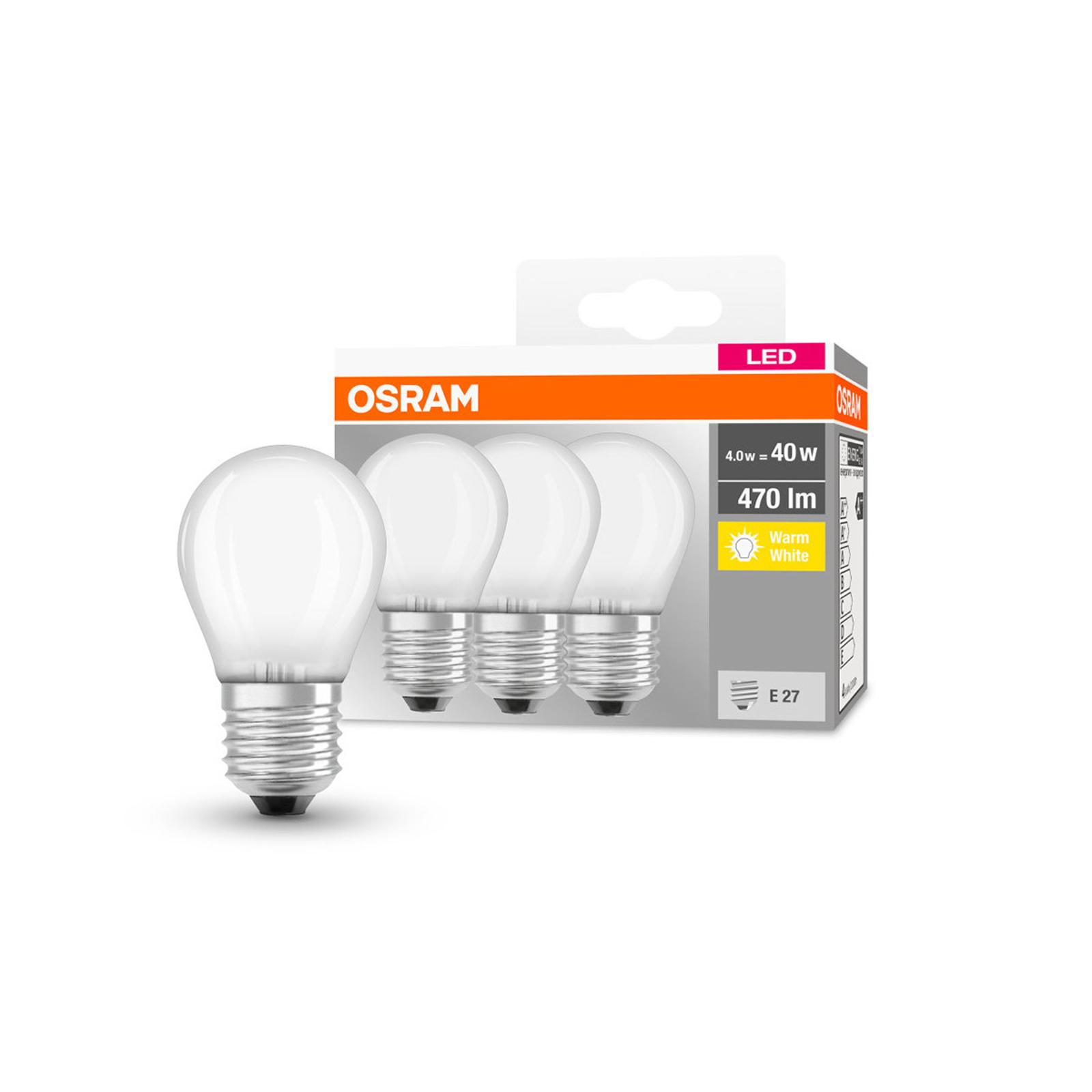 OSRAM kropla LED E27 P40 4W 470lm matowa 3 szt.