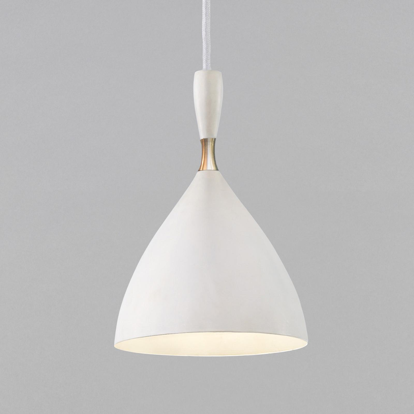 Retro hængelampe Dokka af stål, hvid