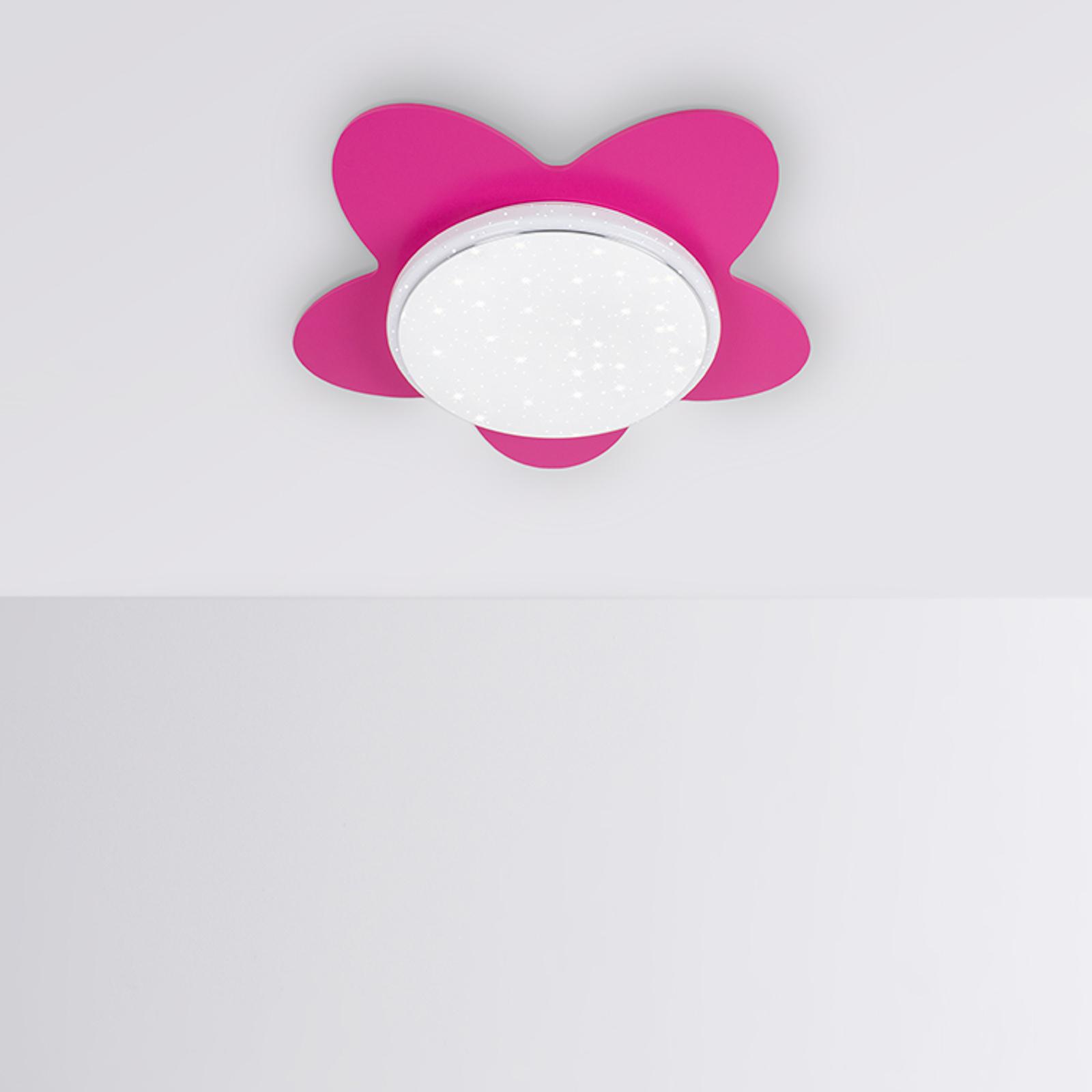 LED-Deckenleuchte Blume Starlight, pink