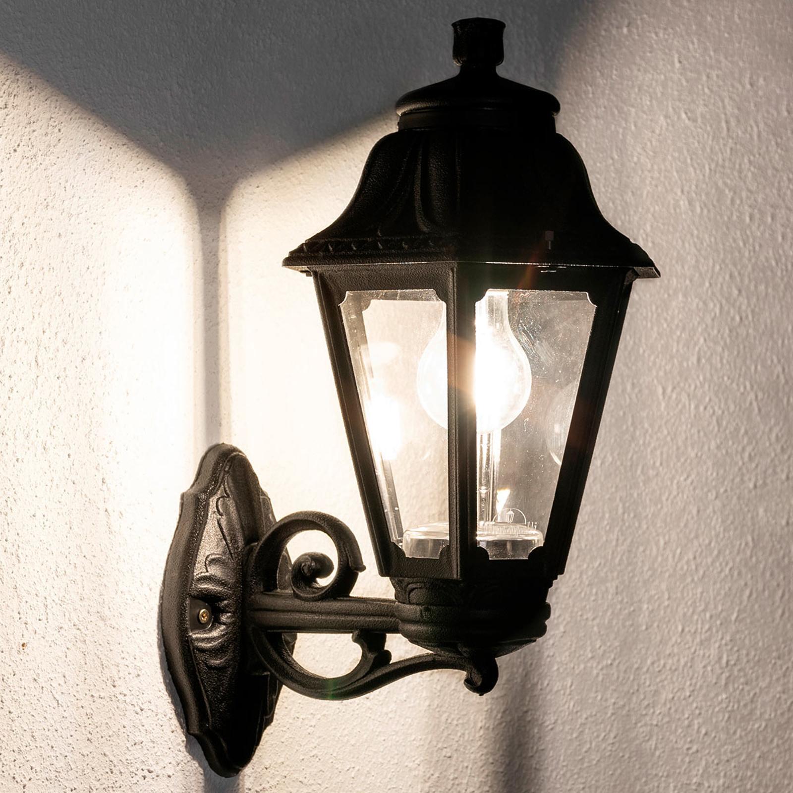 LED buitenwandlamp Bisso Anna E27 zwart opwaarts
