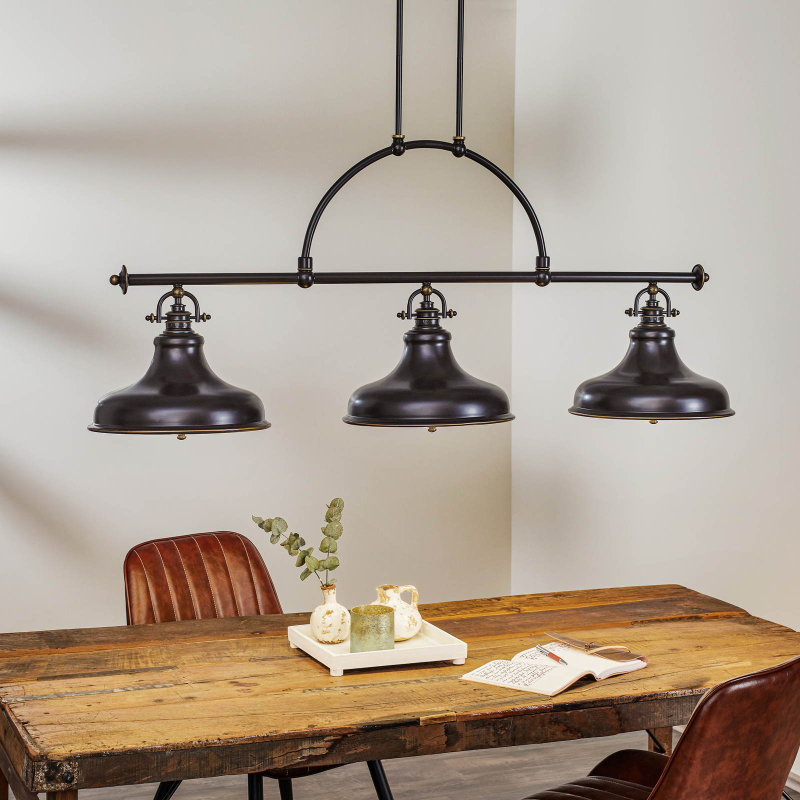 Suspension Emery style industriel bronze 3 lampes