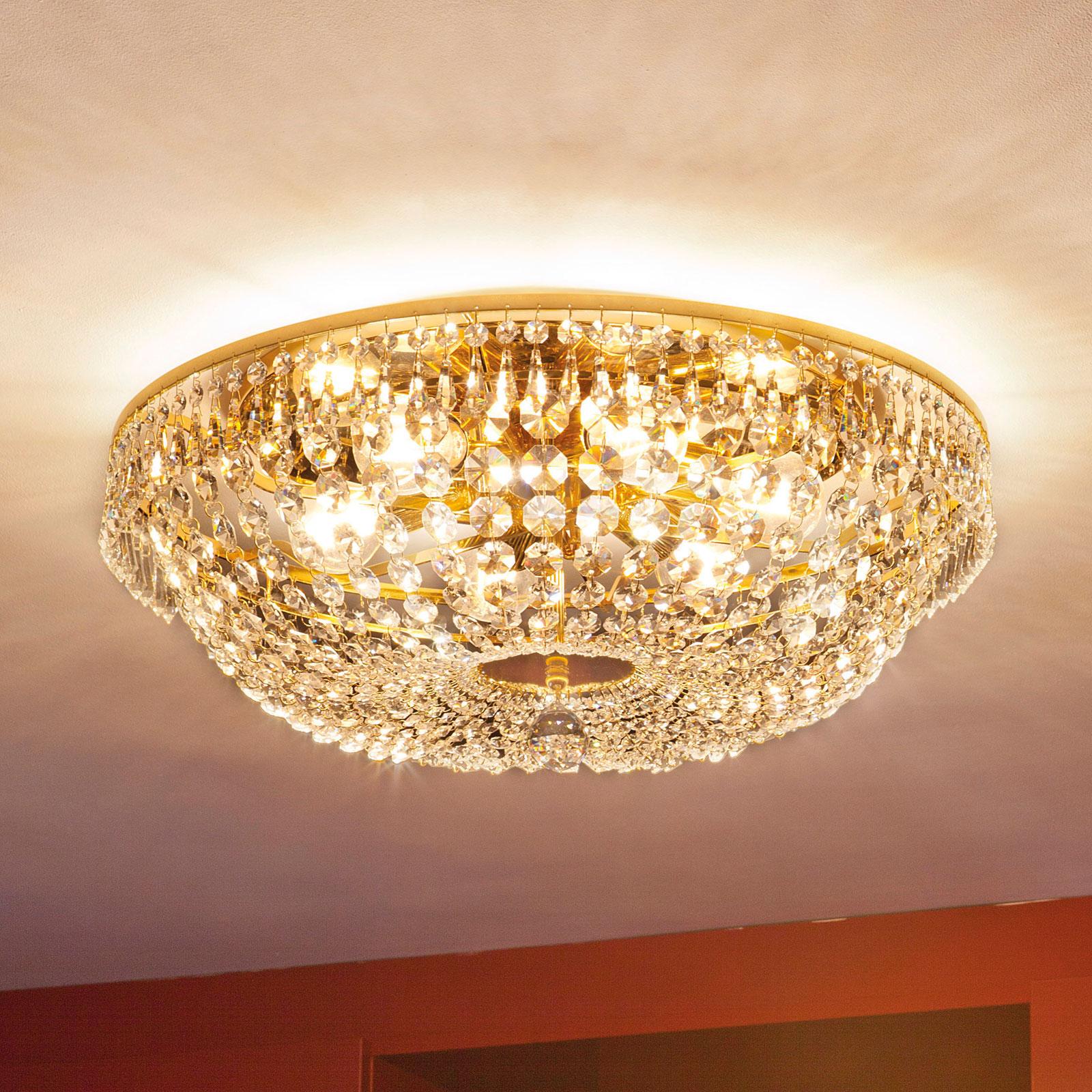 Kryształowa lampa sufitowa SHERATA śr. 55 cm złota