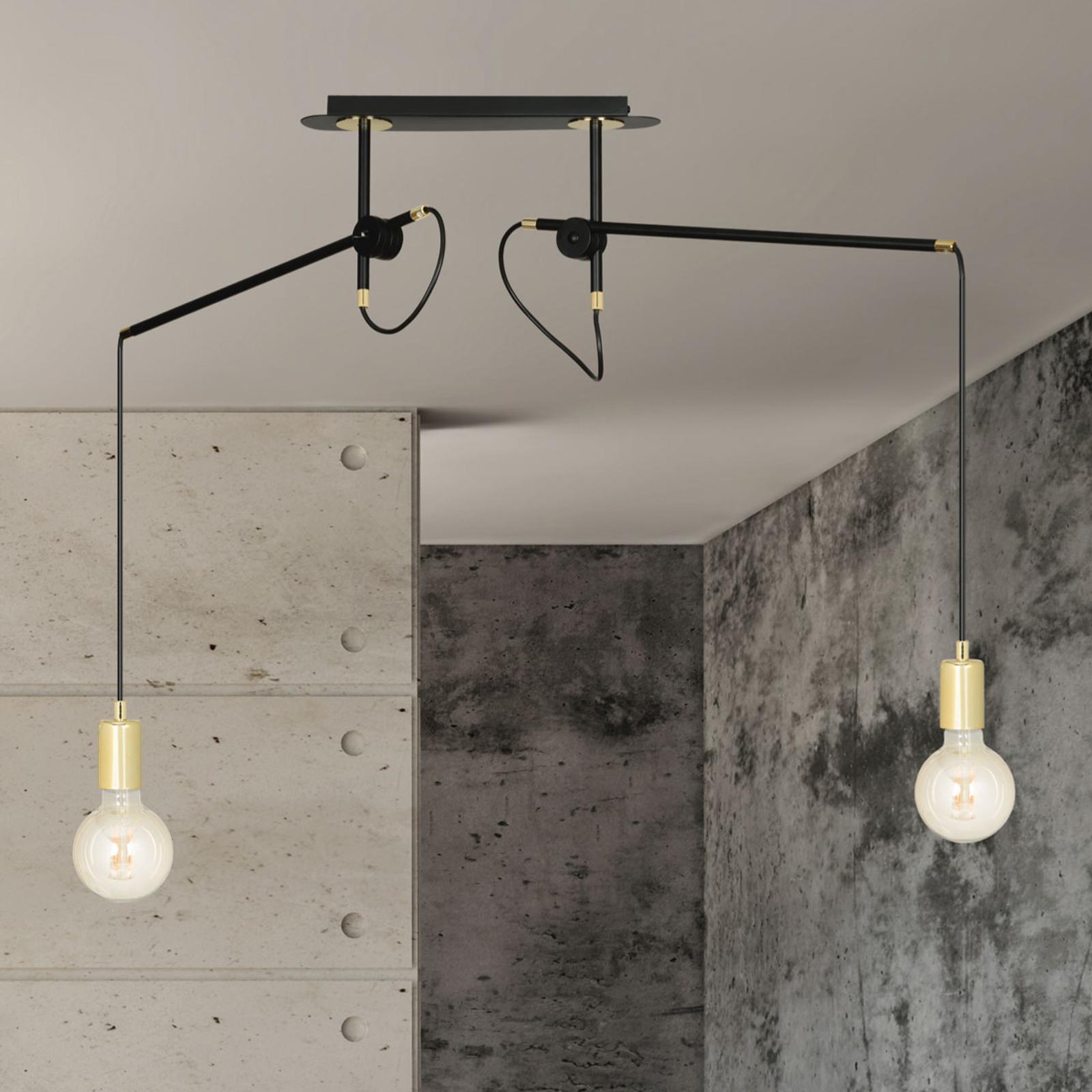 Suspension Artemis 2 à 2 lampes, noire