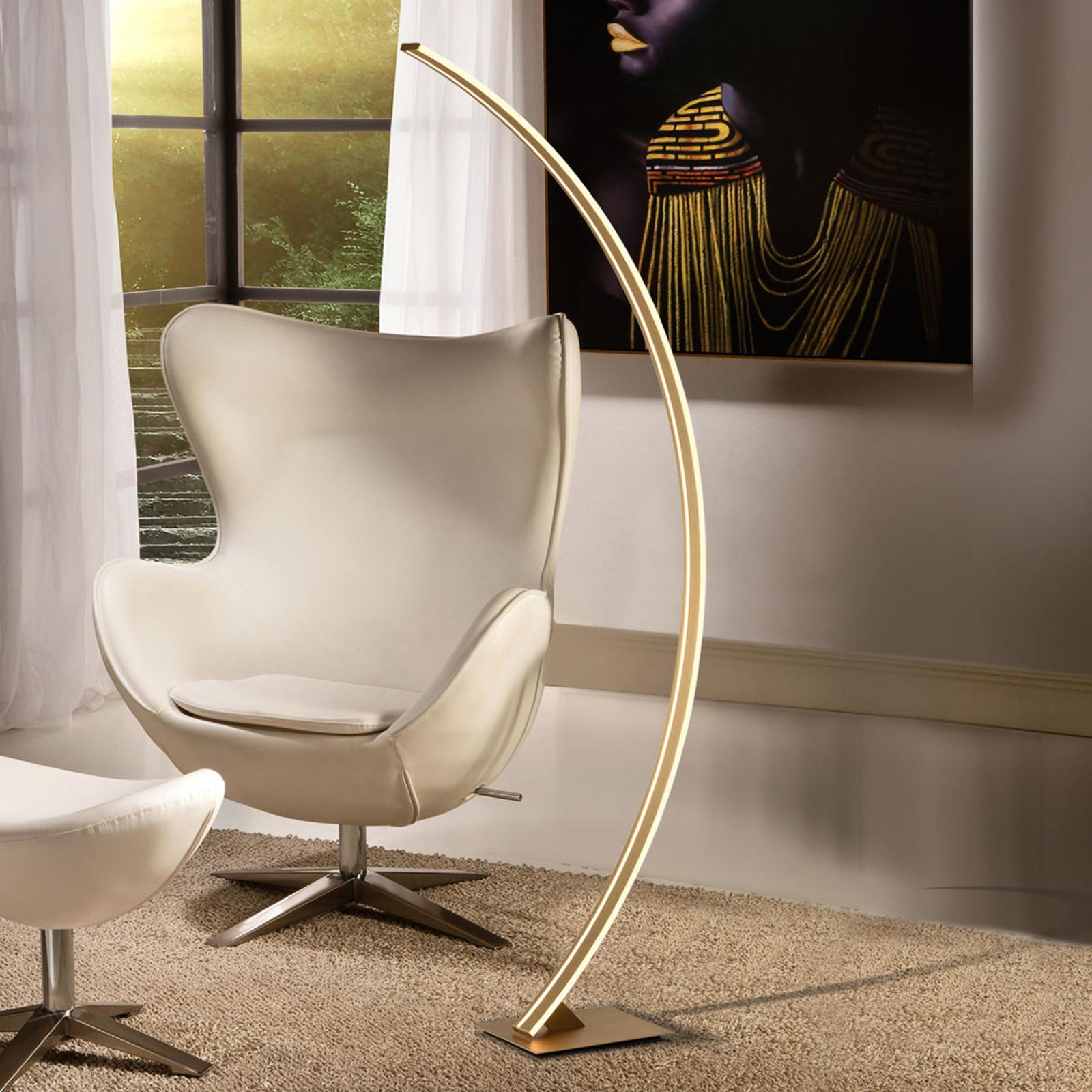 Łukowa lampa stojąca LED Arcus złote wykończenie