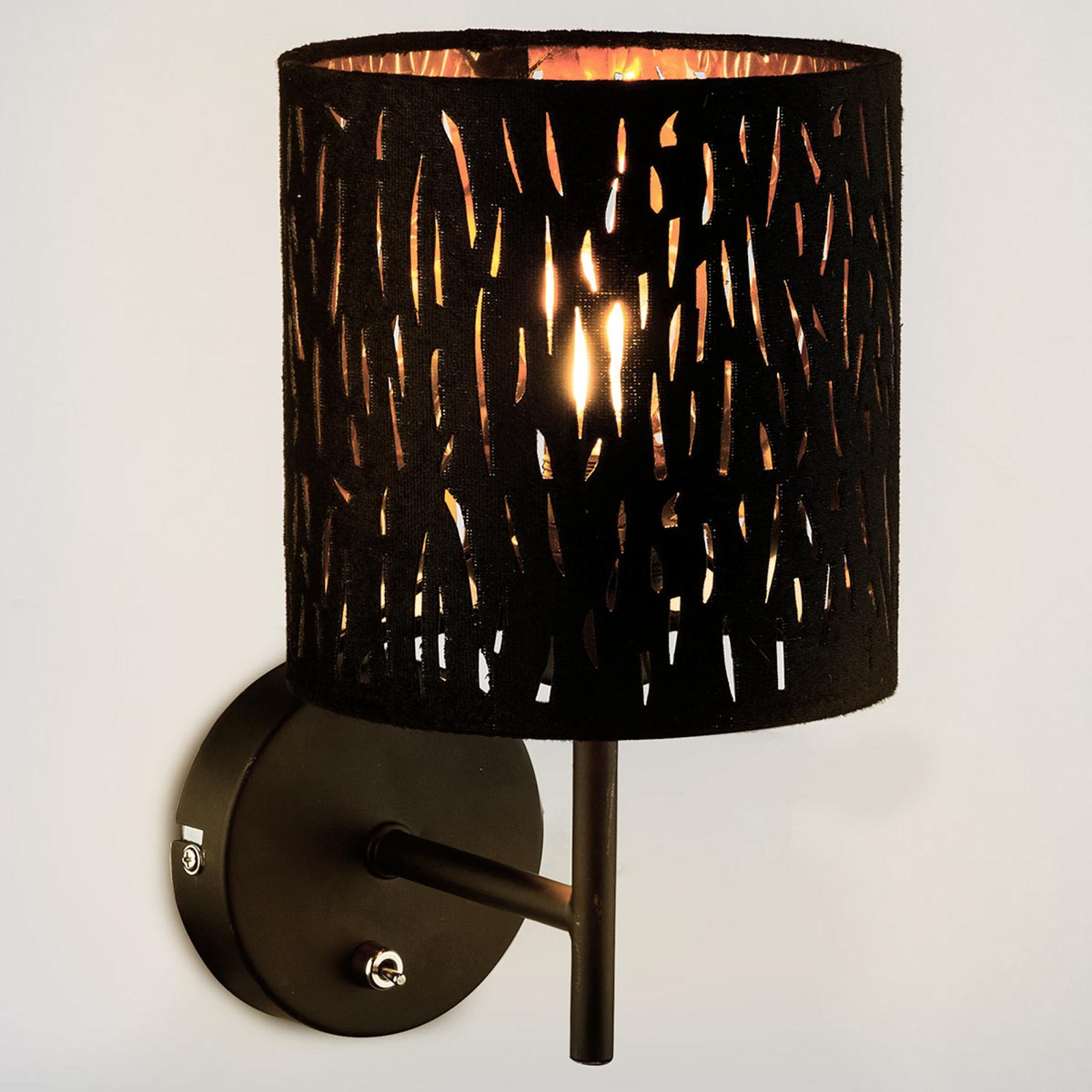Wandlamp Tuxon met zwart-gouden kap