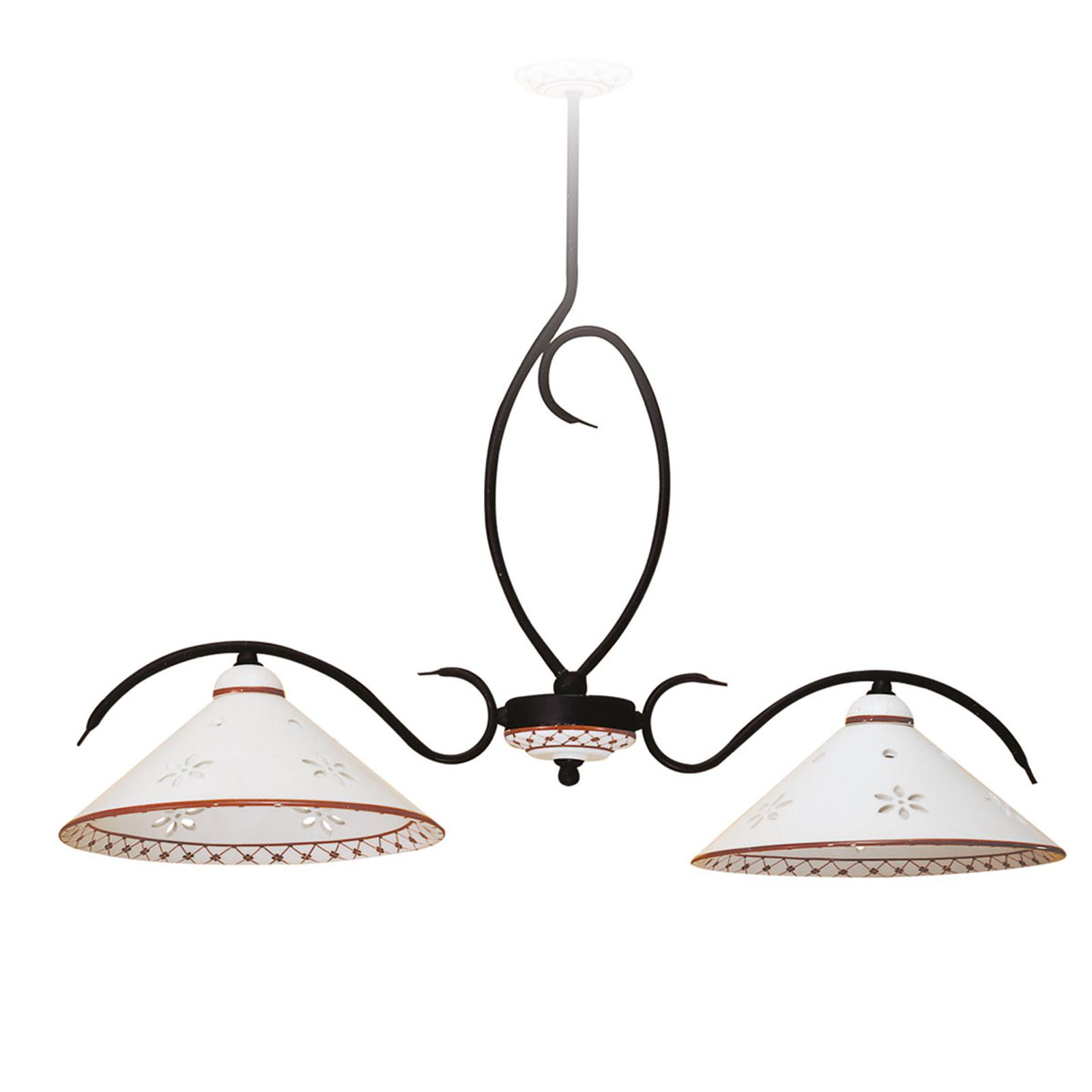 Smuk, aflang hængelampe Bettina m. 2 lyskilder