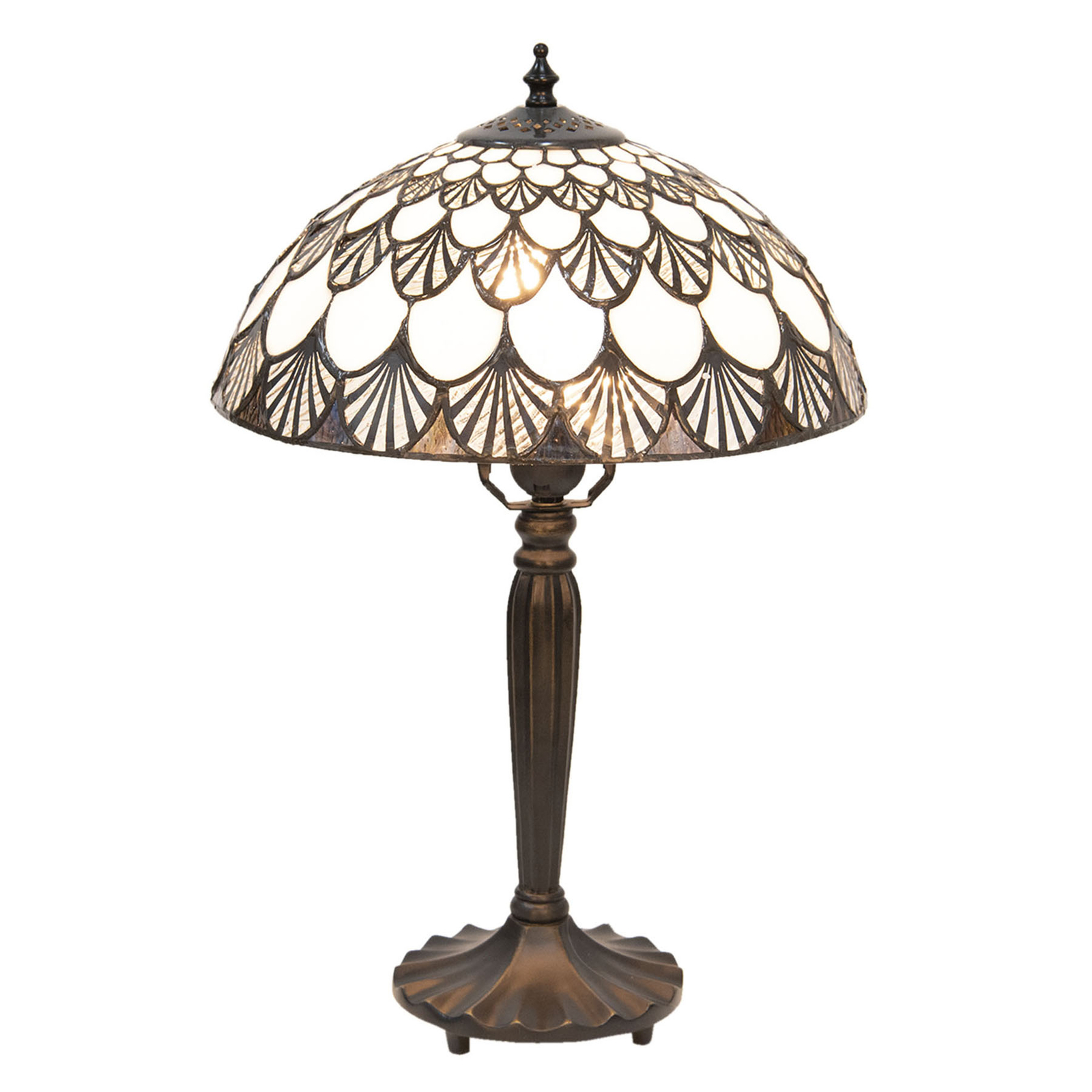 Lampe à poser 5998 motif coquillage, look Tiffany