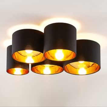 Lindby Laurenz plafonnier 5 lampes 83cm noir-doré