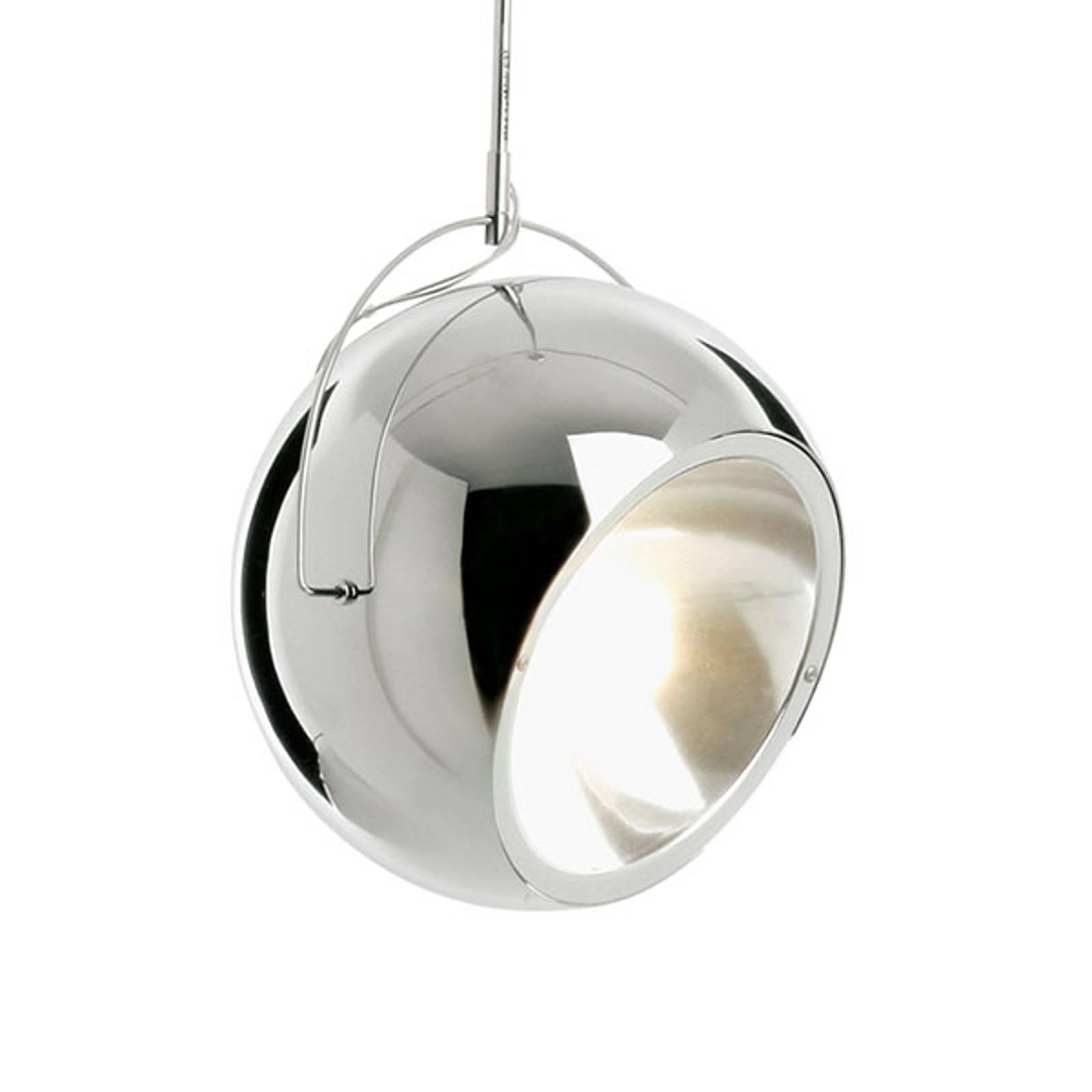 Fabbian Beluga staal chroom-hanglamp, Ø 20 cm