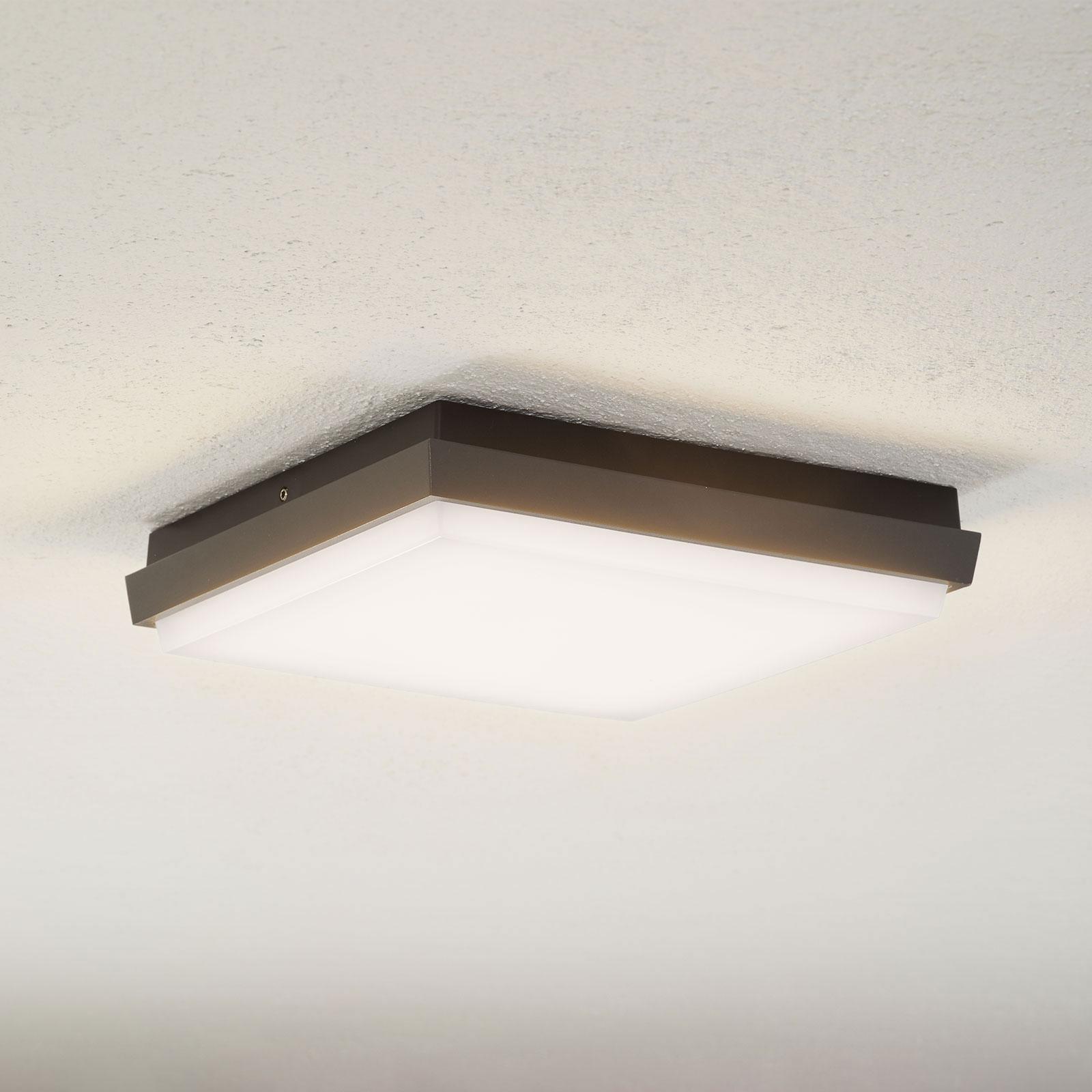 Lucande Amra LED-Außendeckenleuchte, eckig 24 cm