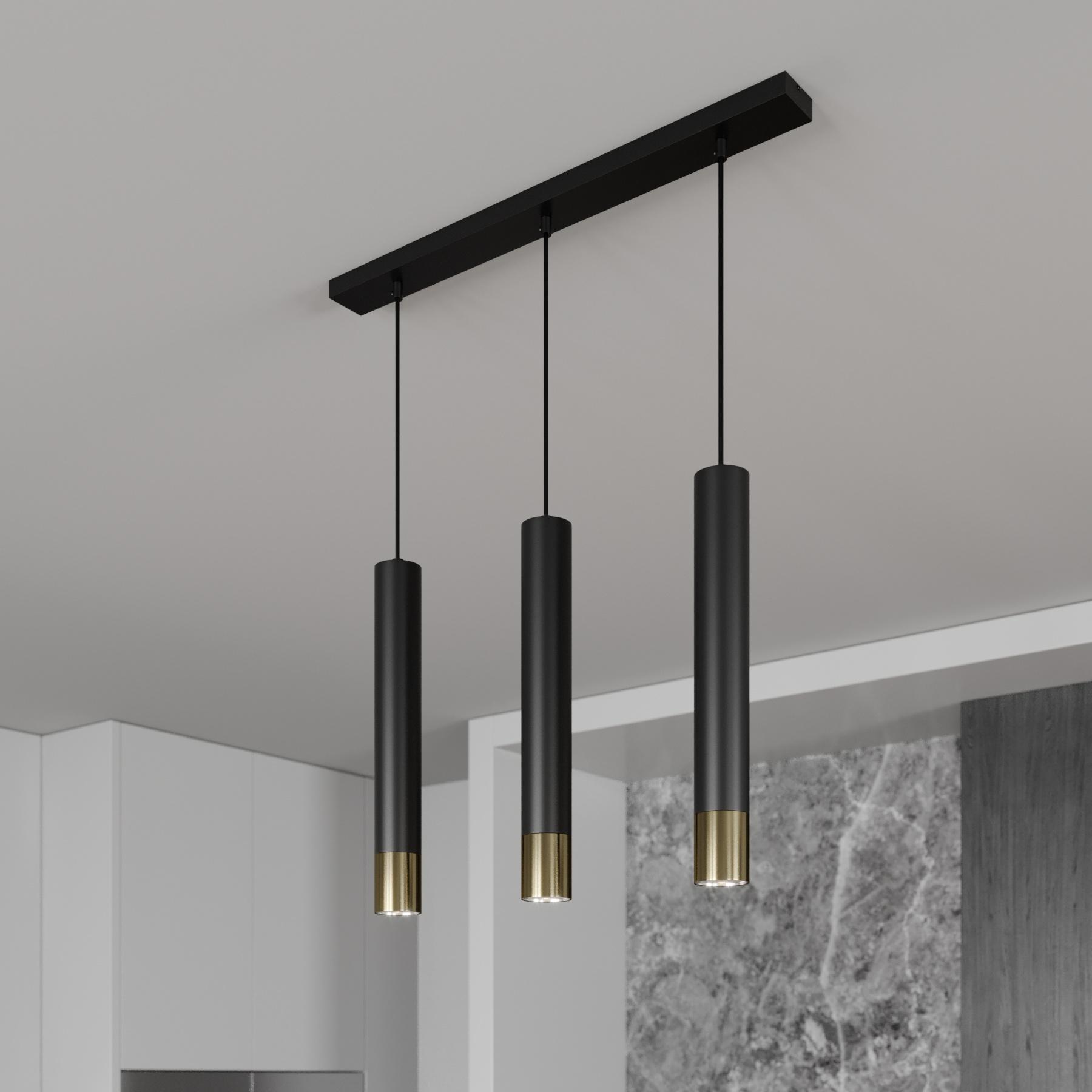 Lampa wisząca 3-punktowa liniowa czarna/złota