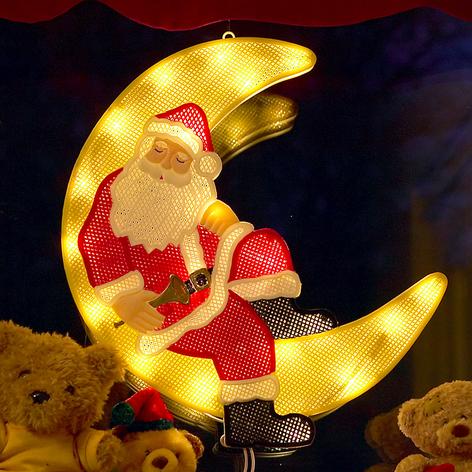 LED-Fensterbild Weihnachtsmann im Mond