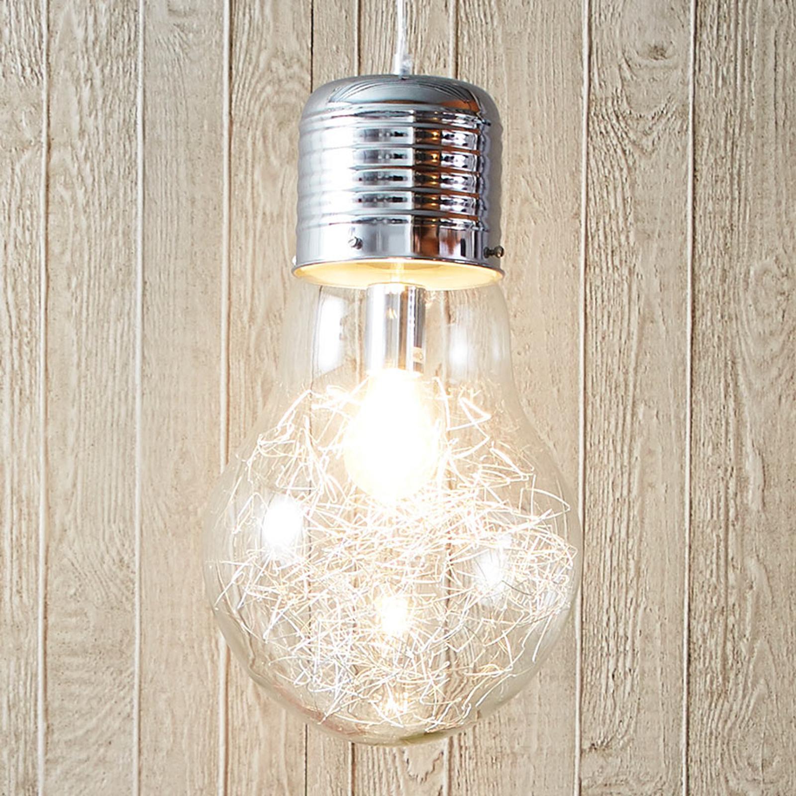 Duhové skleněné závěsné světlo Bulb, chrom