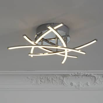 LED-kattovalo Cross, tunable white 5 lamppua kromi