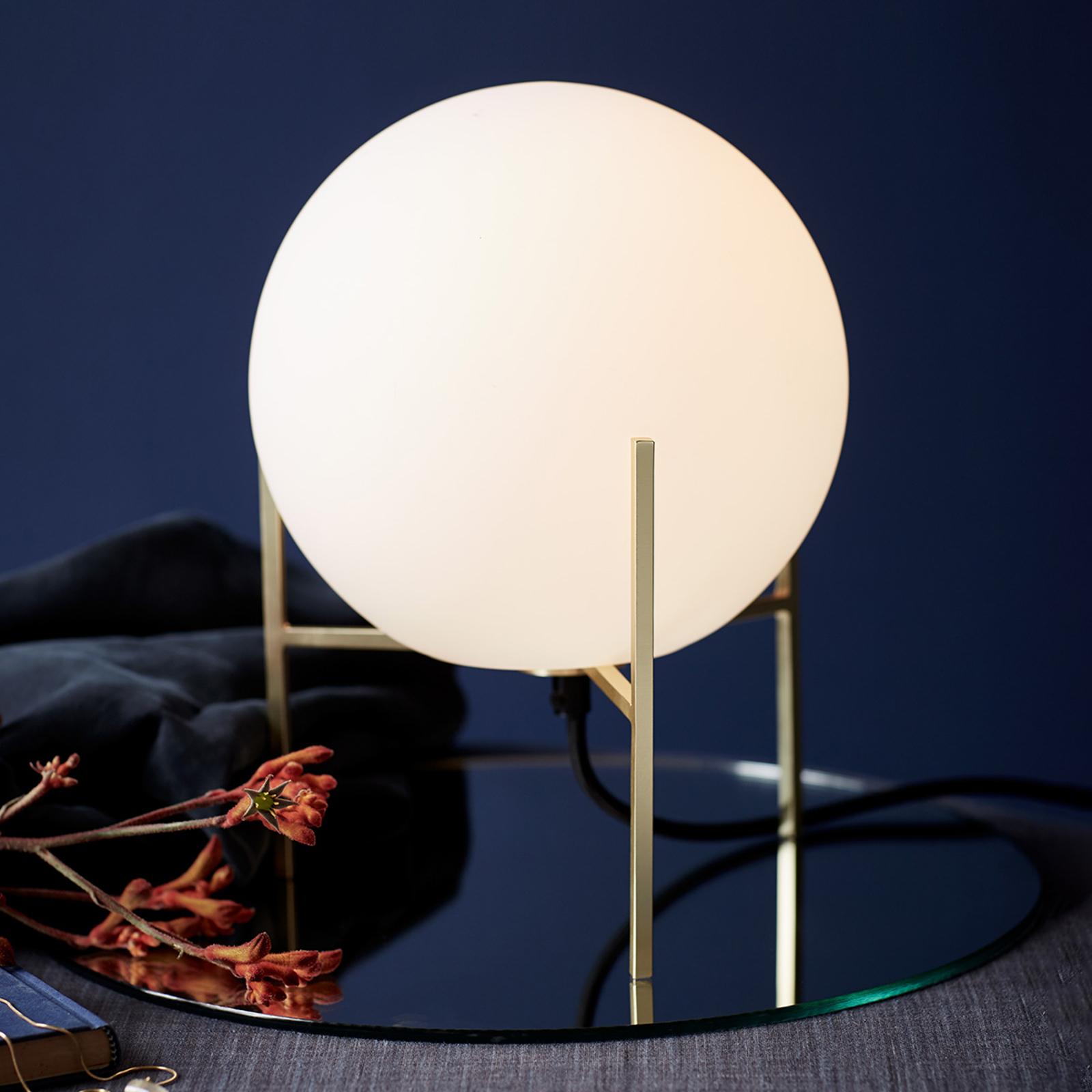 Lampa stołowa Alton z białym szklanym kloszem