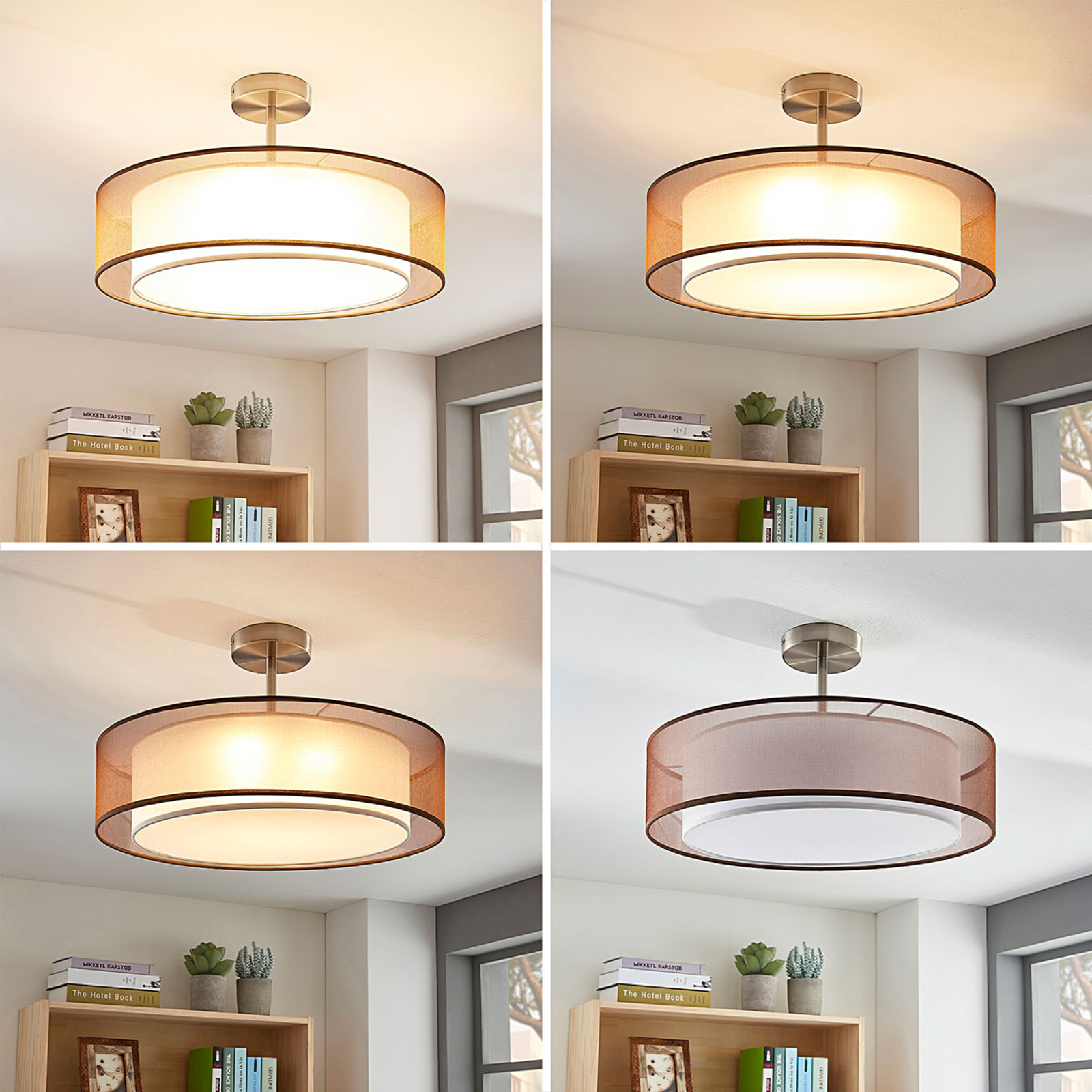 LED-Deckenlampe Pikka, 3-stufig dimmbar, braun