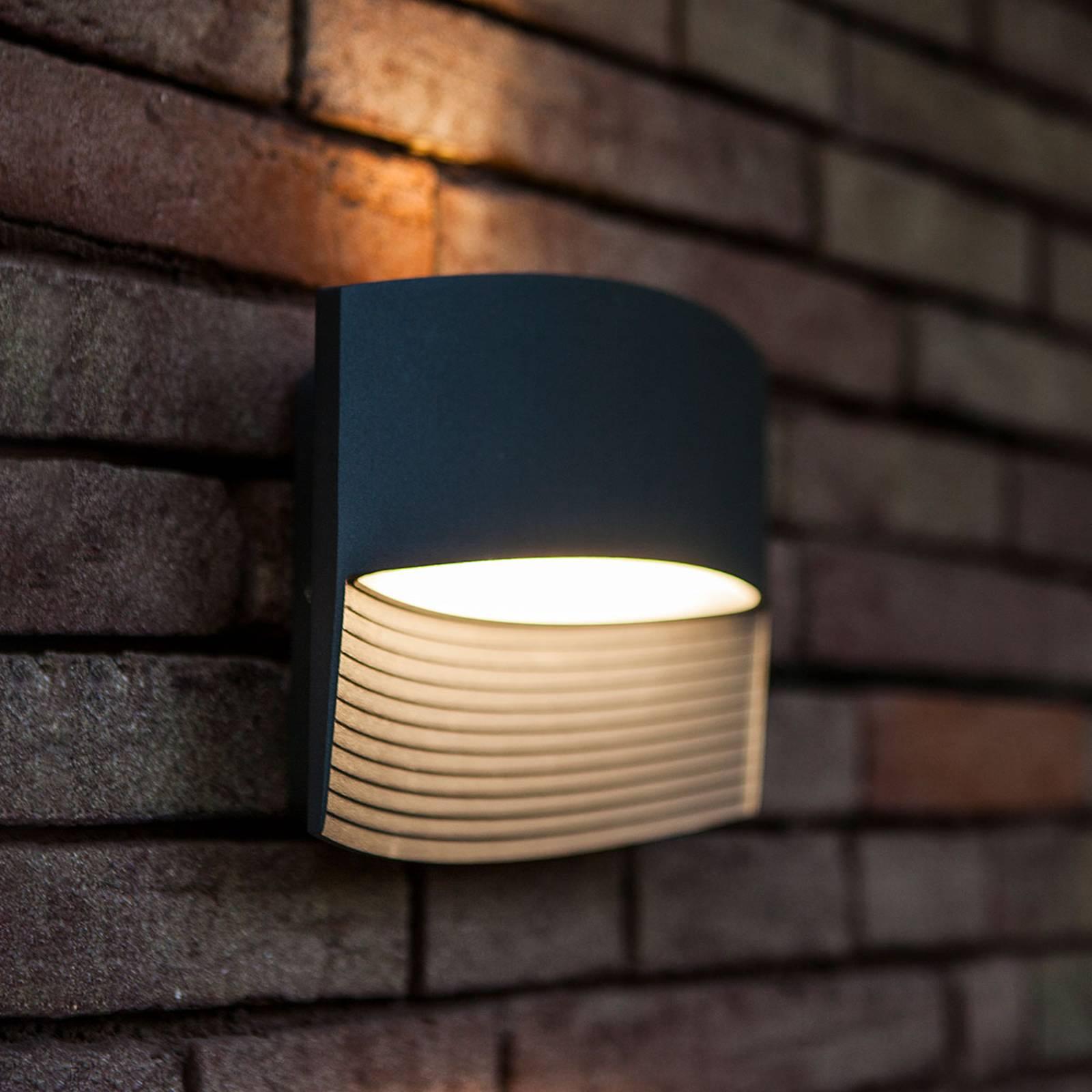 Anthrazitfarbene LED-Außenwandleuchte Lotus