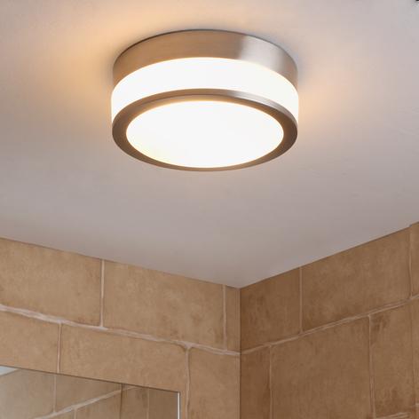 Lindby Flavi taklampe til bad, Ø 23 cm, nikkel