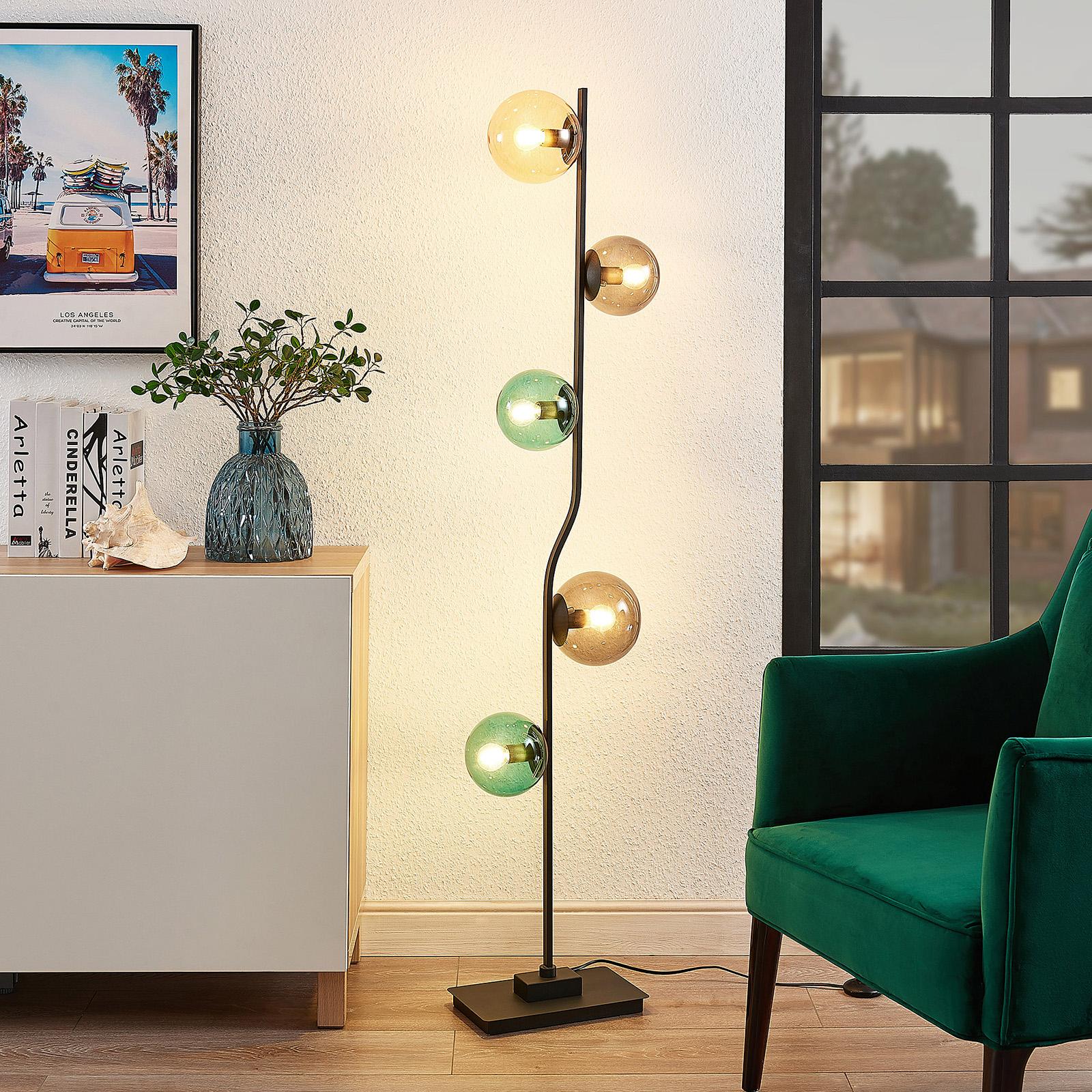 Lindby Avalyn Stehlampe, mehrfarbig, schwarz