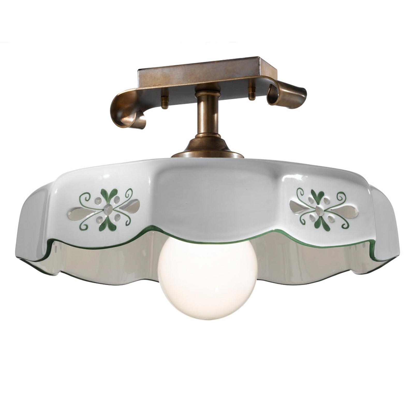 Lampa sufitowa Marostica styl wiejski zielona