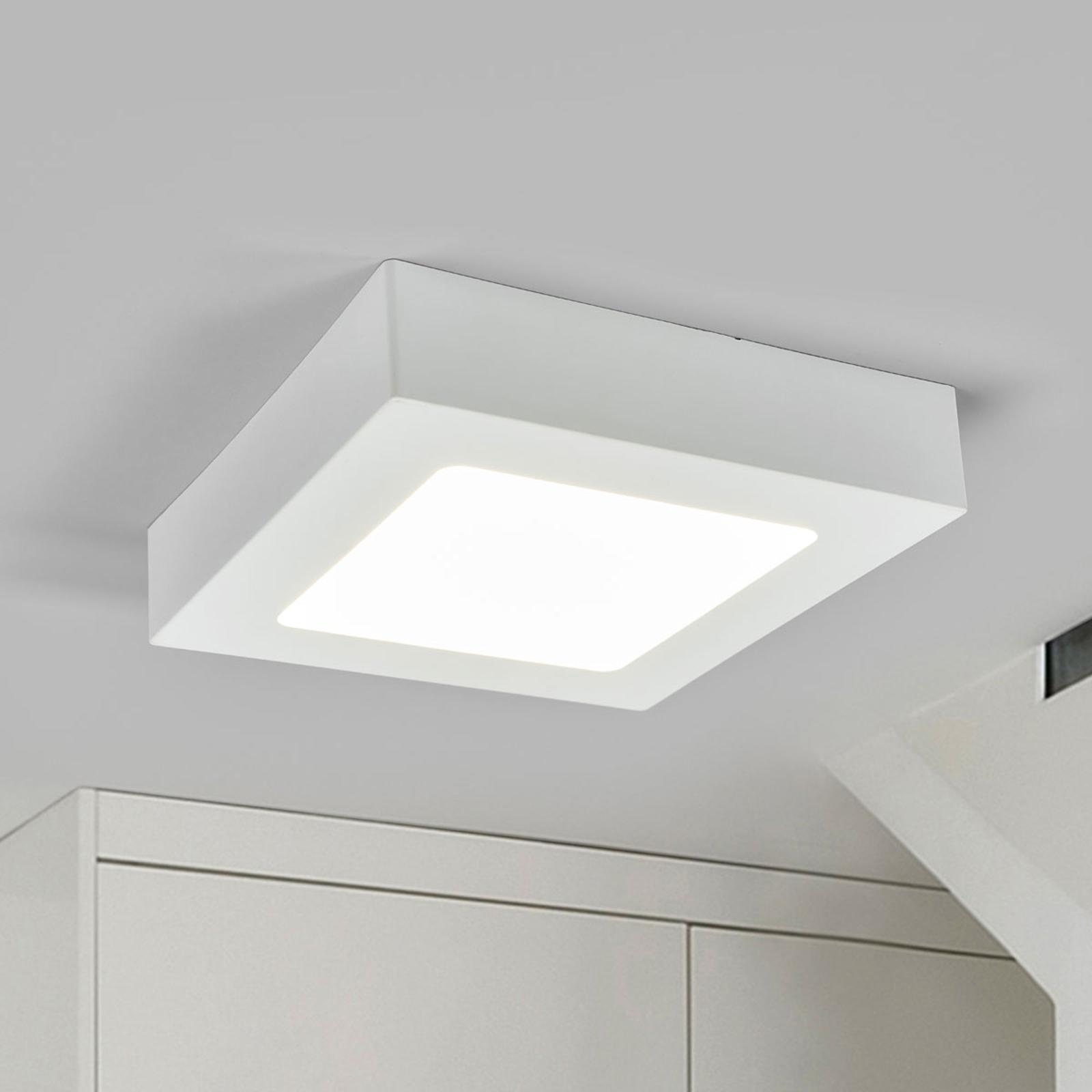 LED-loftlampe Marlo hvid 4000K kantet 18,1cm