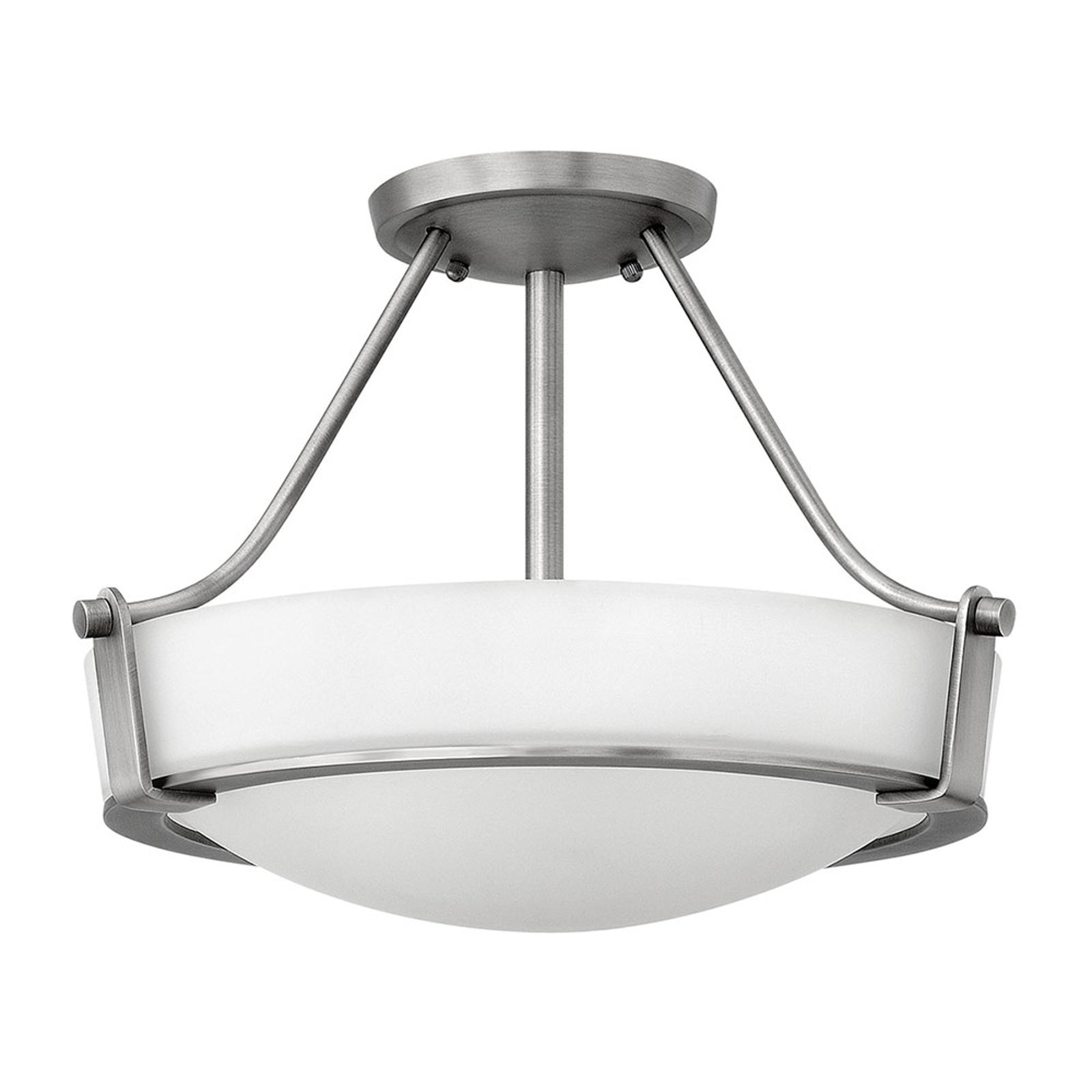 Plafondlamp Hathaway met afstand, nikkel Ø 41 cm