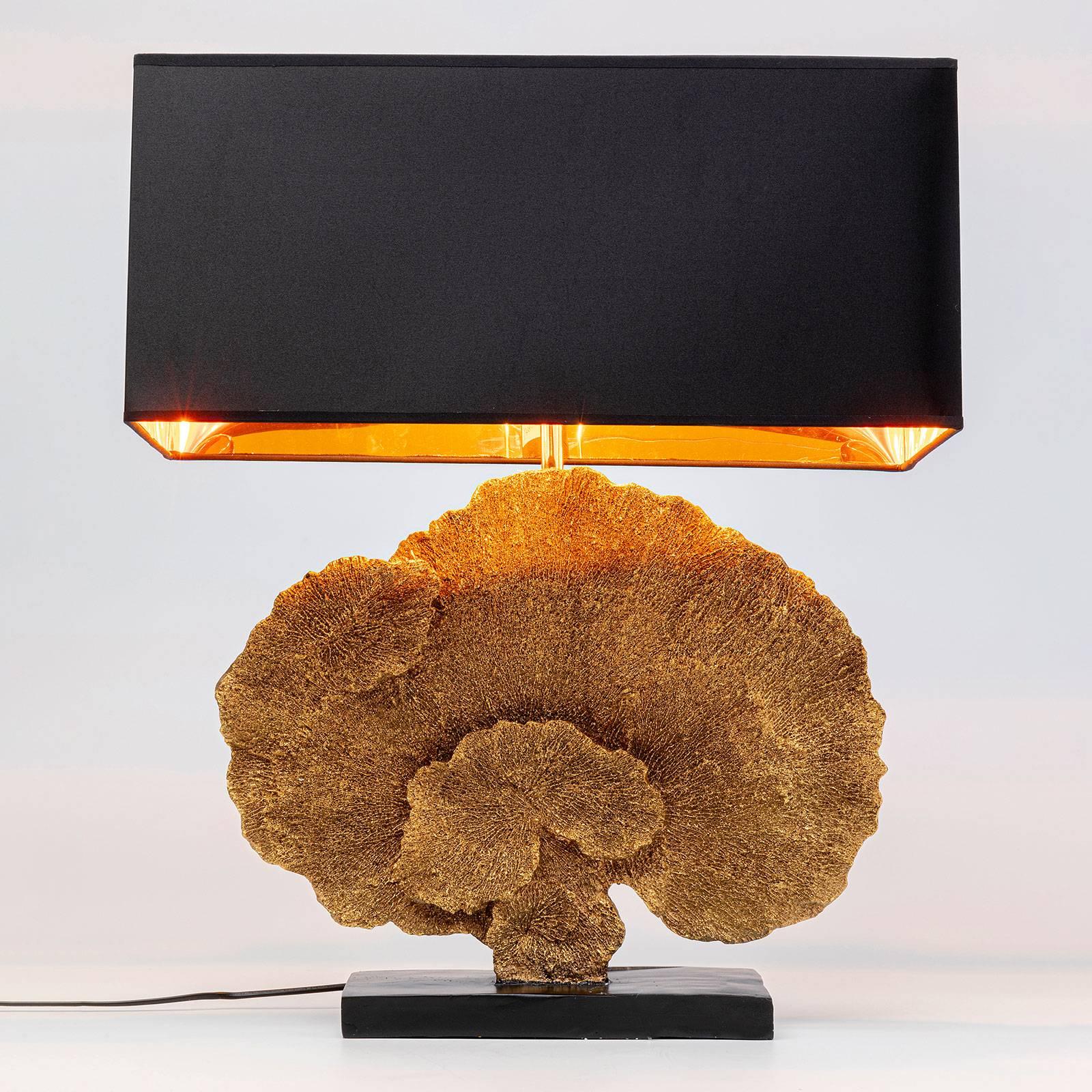 KARE Coral Gold Tischleuchte mit Textilschirm