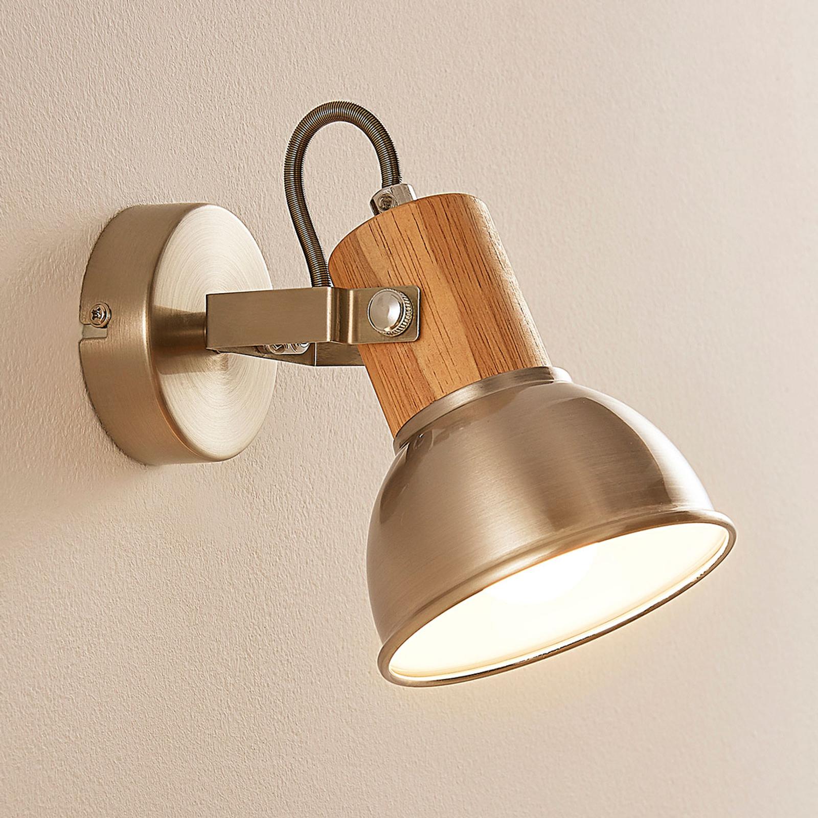 Faretto LED Dennis con elemento in legno