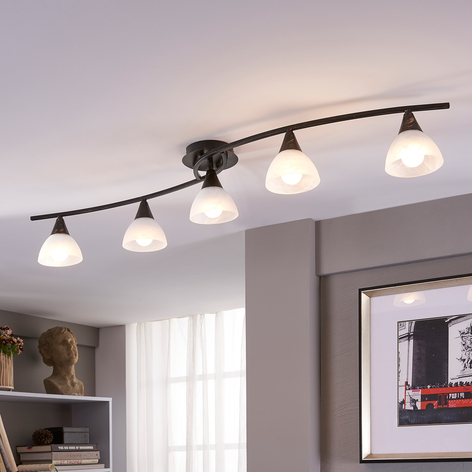 Fem-armet LED-taklampe Della, oval