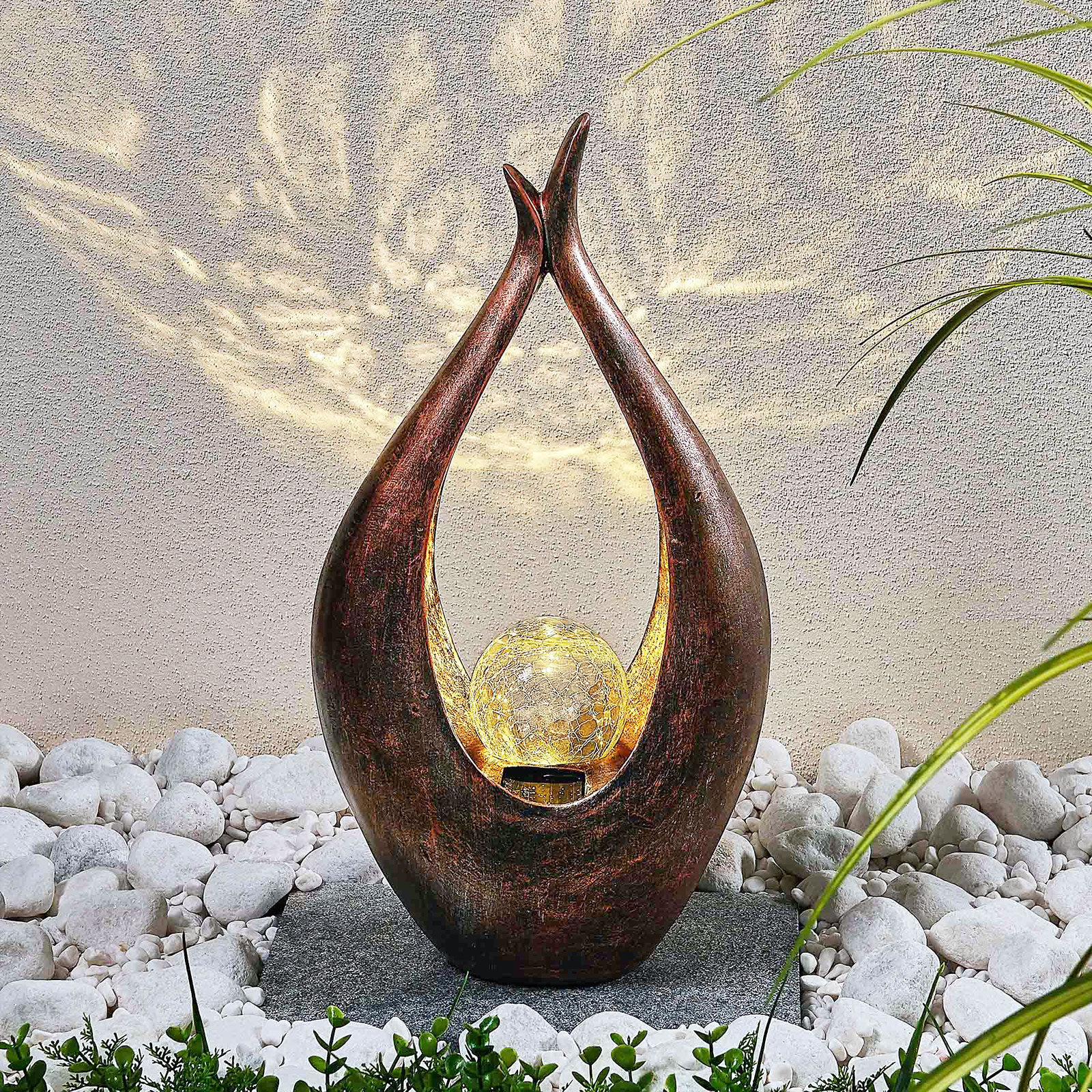 Lampe déco solaire LED Adem, ethnique, 50cm