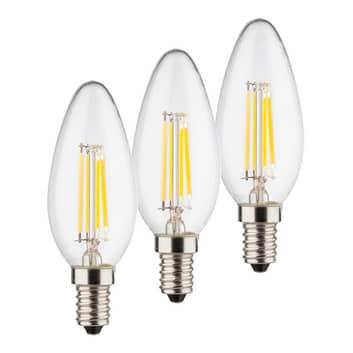 LED-mignonpære E14 4 W 2°700 K Filament 3-pakk