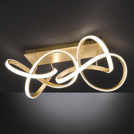 Plafón LED Indigo, 2 luces, dorado mate