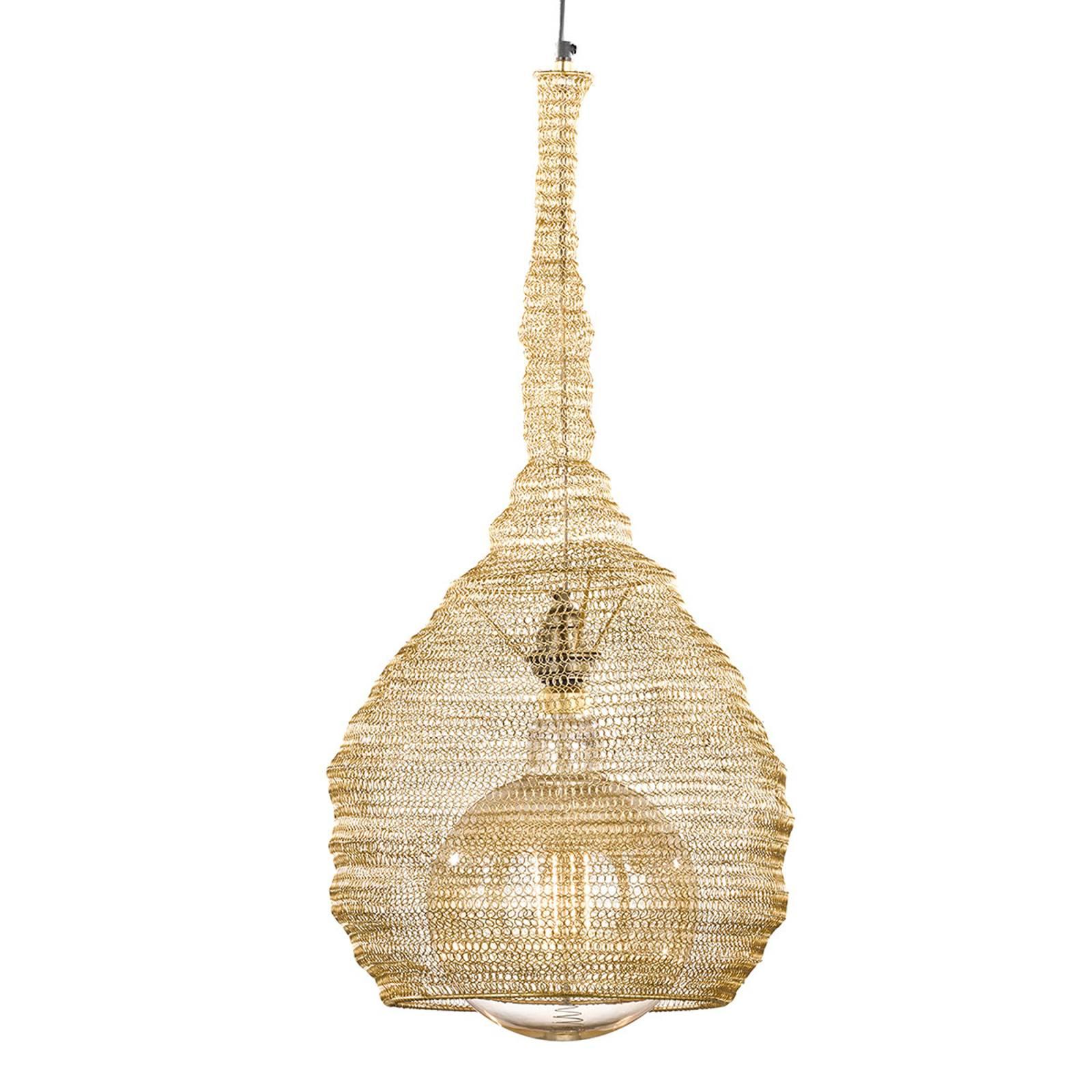 Goudkleurige kooikap-hanglamp Ano Ø 35 cm
