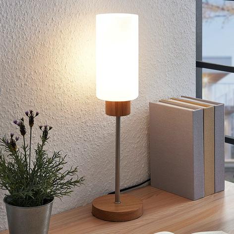 Lindby Nicus lámpara de mesa, madera y vidrio